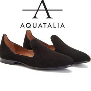 Aquatalia Waterproof Loafer Round Toe Black Suede
